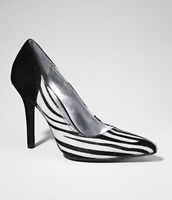 Express Zebra Pointed Toe Haircalf Calfhair Suede Leather Pumps Heels 7.5 M