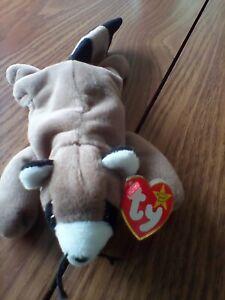Ty Beanie Baby ~ RINGO the Raccoon ~1995~ PVC ~ Plush Toy ~Retired