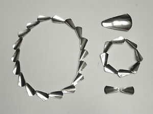 Vintage-Arne-Johansen-Danish-modernist-mod-jewelry-set-5-pieces-sterling-silver