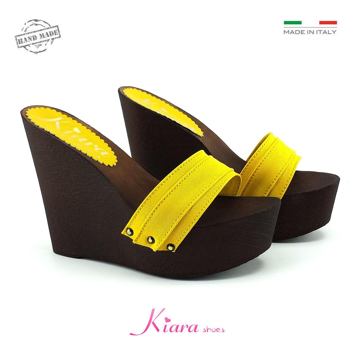 Zeppe Zatteroni Zoccoli Giallo - Schuhe Made in  N. da 35 a 41 - Tacco 13