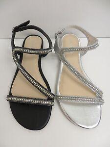 915d8ba4559fbe Image is loading New-Women-Caleb19-Flat-Sandal-AnkleStrap-Rhinestone-Shoe-