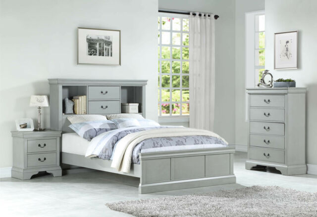 NEW 3PC PRESCOTT GRAY WHITE PINK WOOD CAPTAIN BOOKCASE TWIN or FULL BEDROOM  SET