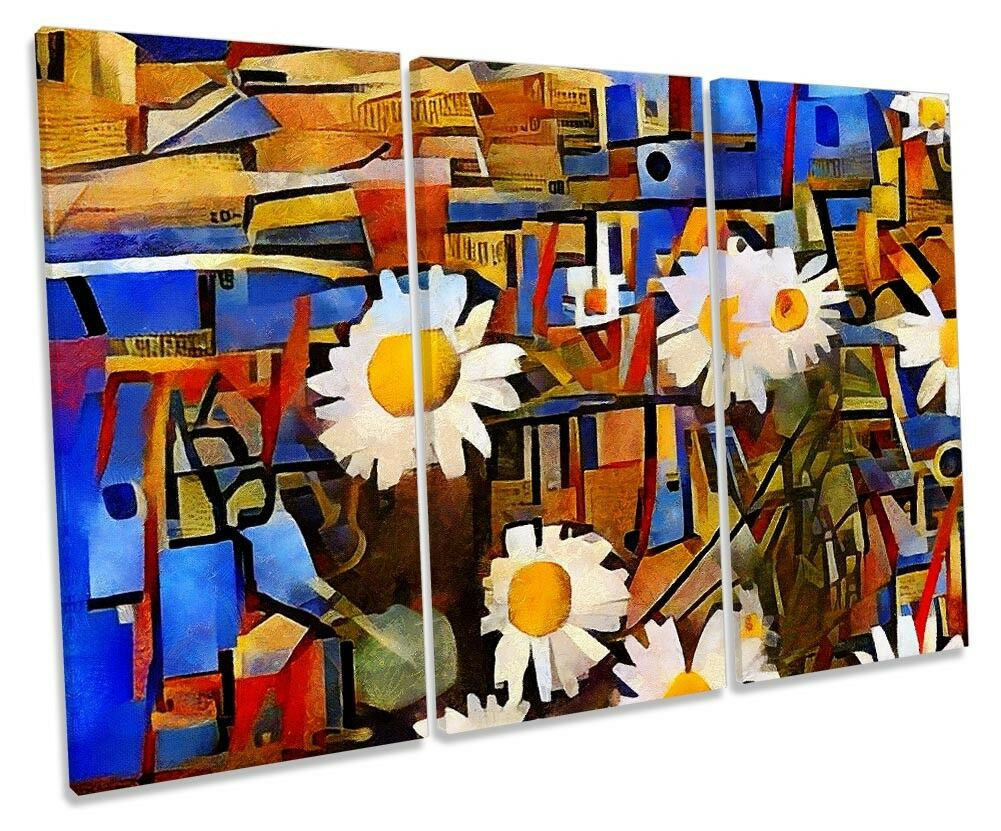 Daisy Astratta Fiori Floreale TREBLE TELA parete opera d'arte art print