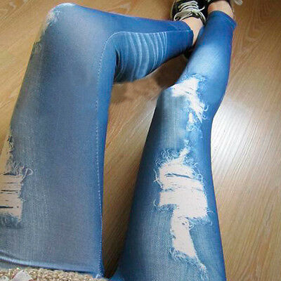 Women Ladies Sexy Skinny Tights Pants Denim Jeans Look Leggings Jeggings New