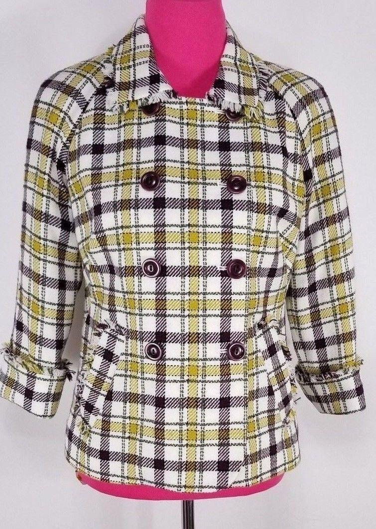 NWOT Pendleton Women's Blazer Size 6 Plaid Double Breasted Fringe 3 4 Sleeve