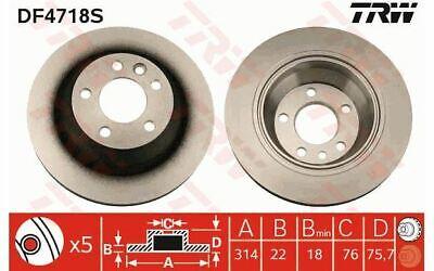 Arrière ventilé disques de frein vw touareg 2.5 R5 tdi suv 2003-10 174HP 314mm
