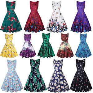 Vintage-Womens-50s-Swing-Floral-Sleeveless-Evening-Party-Rockabilly-Retro-Dress