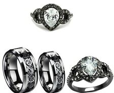 Etonnant HIS AND HER TUNGSTEN CELTIC BLACK BAND CZ COUPLES ENGAGEMENT WEDDING RING  SET