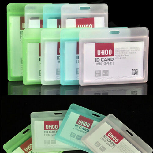 1ID Card Holder Transparent Plastic Badge Resealable Waterproof Business Case YL