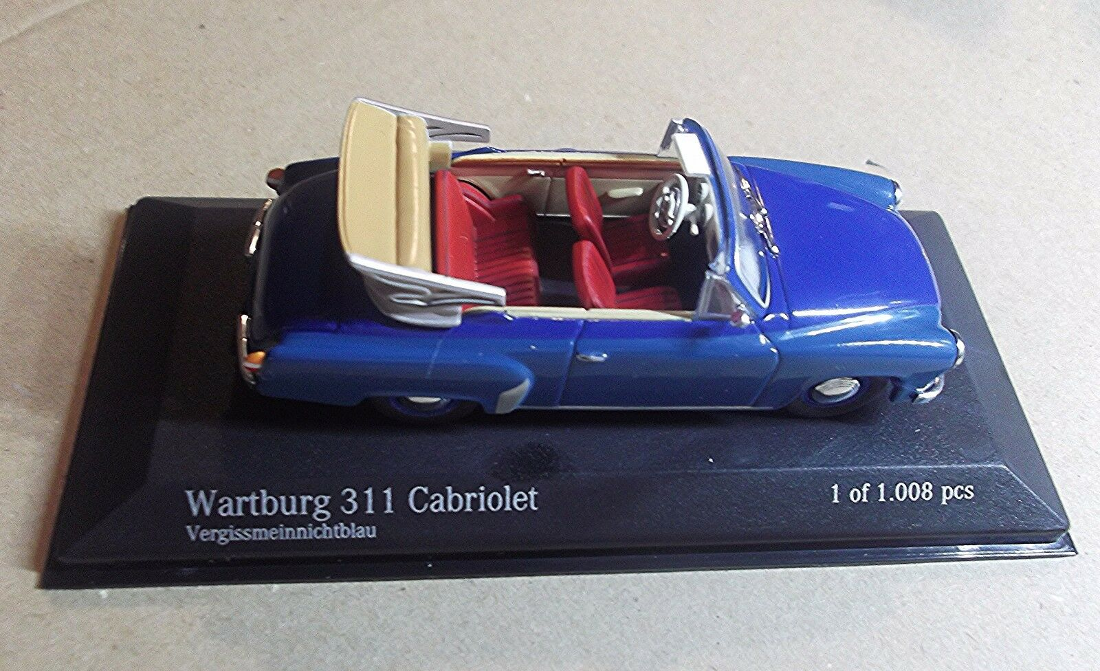 43015932  MINICHAMPS 1 43 SCALE  WARTBURG 311 2 CABRIOLET 1959  blueE