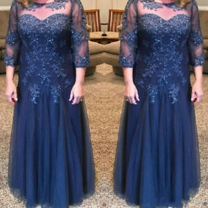 Plus Size Navy Blue Tulle Mother Of The