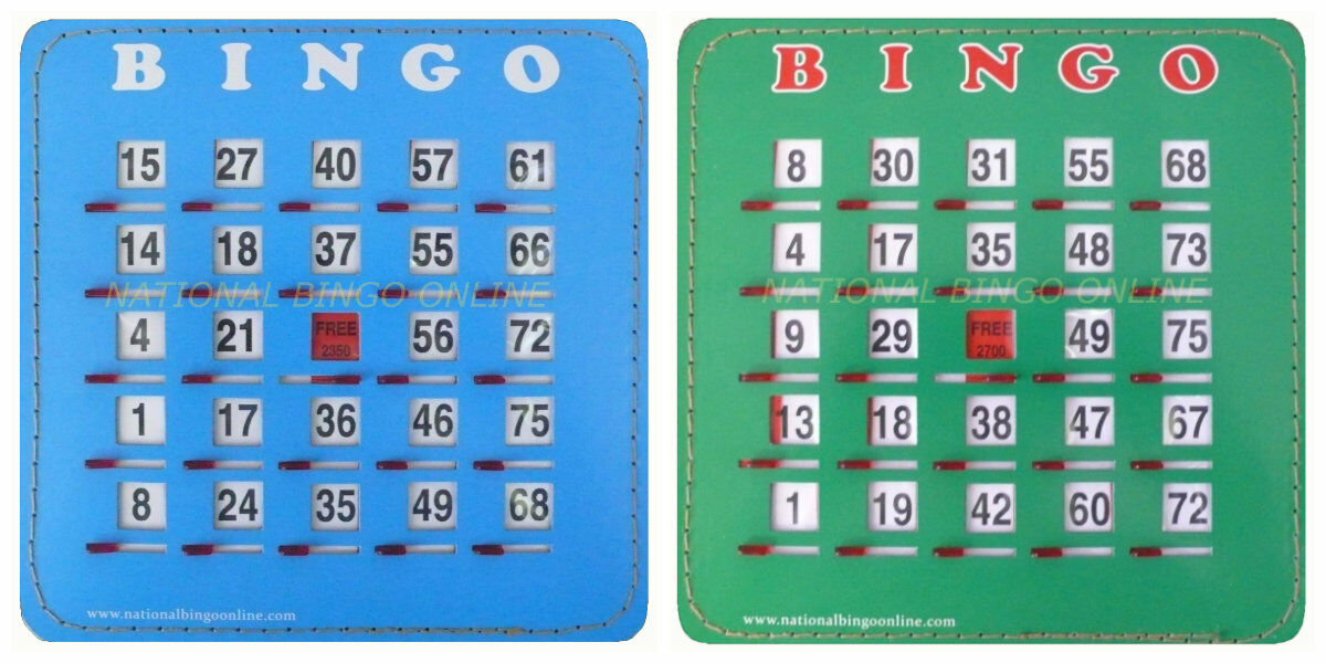 EASY SLIDE BINGO SHUTTER CARDS AVAILABLE IN 25, 50, or 100. Blau or Grün