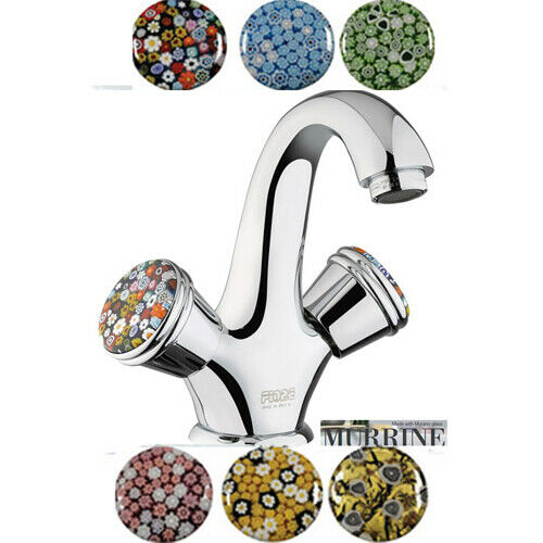 Sehr schöne 2-Griff Waschtischarmatur Griffe aus Murano-Glas Murano-Glas Murano-Glas  Ablaufgarnitur | Moderne Muster  | Merkwürdige Form  0b3242