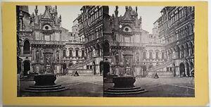 Palazzo-Ducale-Venezia-Italia-Fotografia-Stereo-Vintage-Albumina