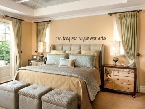 """...AND THEY LIVED HAPPILY EVER AFTER  Wall Art Vinyl Decal Lettering Words 36/"""""""
