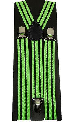 """Mens Unisex Clip-on Braces Elastic Suspender """"Stripe"""" Y- back Suspender"""