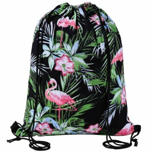BLACK FLAMINGO DRAWSTRING BAG Dance School Gym PE Kit Swim Shoulder Backpack