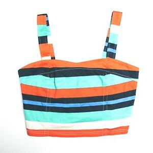 Revival Multicoloured Striped Womens Crop Top Size 12 Dangerfield