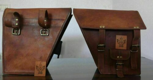 Combo 3 Motorcycle Saddle Bag Vintage Leather Panniers Tool Luggage 3 Bike Pouch