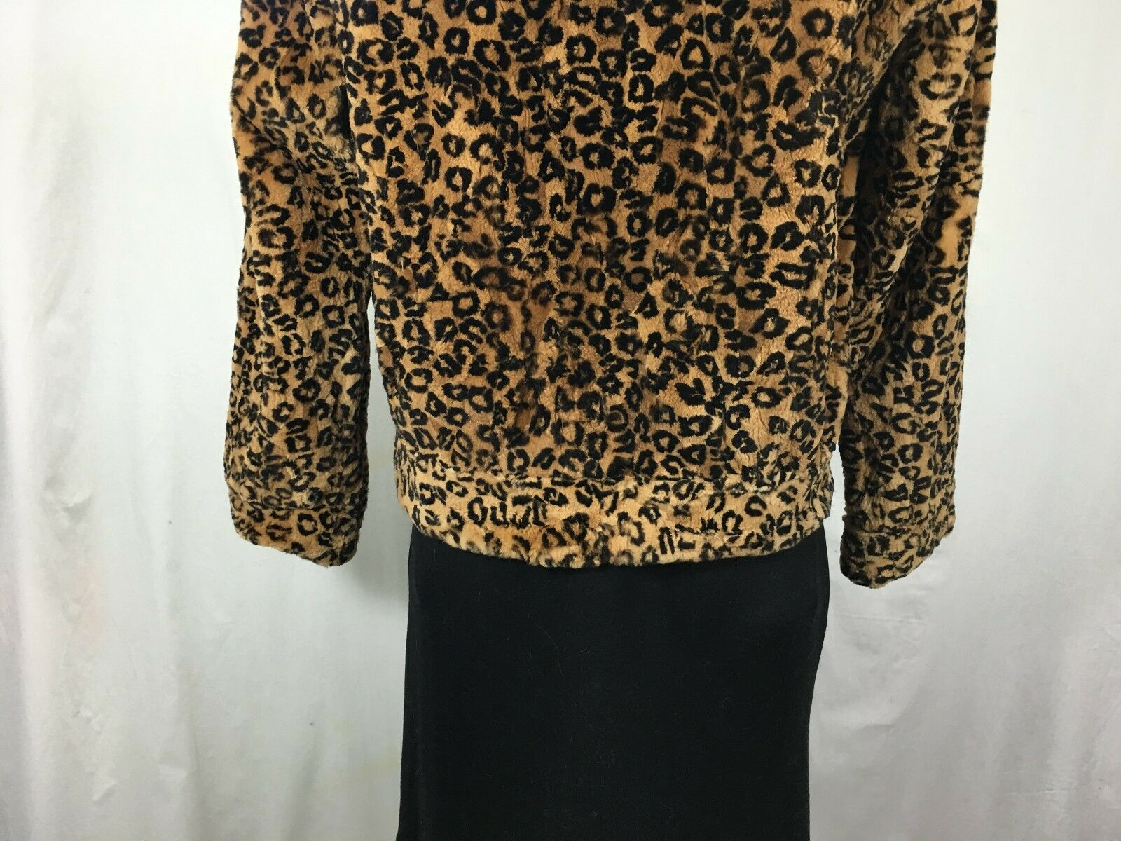 FREE FREE FREE SHIPG LUXURY WARM DYED LEOPARD  PRINTED SHEARED MINK FUR LADY HOODIE BOMBER 10363e