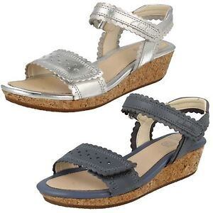 5e7ae06a557 Clarks Girls Harpy Myth Silver or Denim Blue Leather Wedge Sandals ...