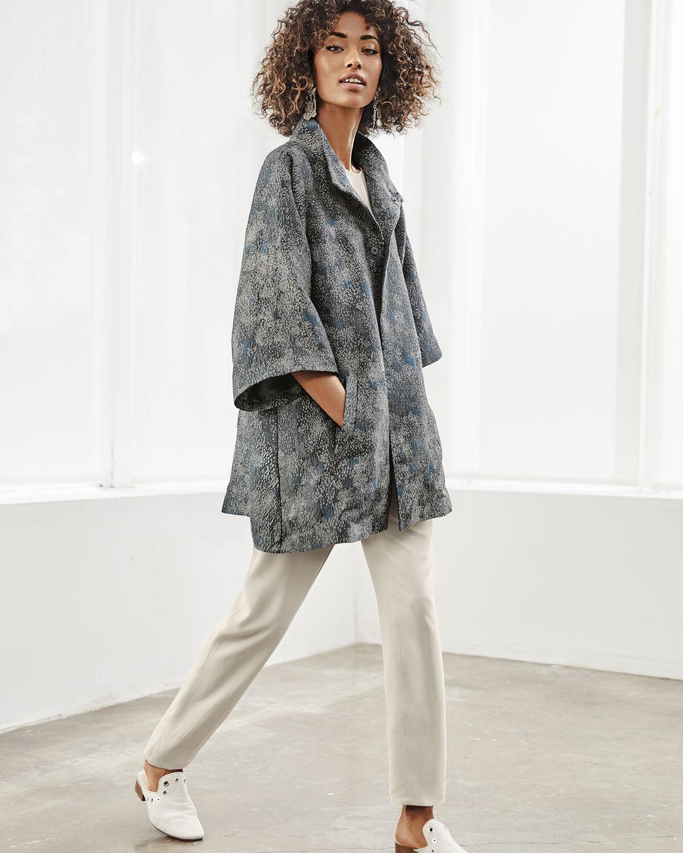 Nueva  Eileen Fisher ceniza Cosmos Jacquard Stand cuello alto cuadrado-Chaqueta XS  598  ofrecemos varias marcas famosas