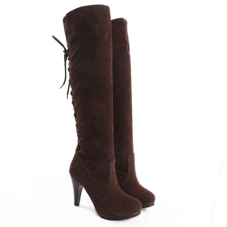 Bottines bottes femme talon 10.5 cm brun lacets élégant chaud confortable 8965