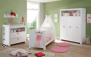 babyzimmer komplett set wei rosa kinderzimmer 5 tlg gs siegel baby m bel olivia ebay. Black Bedroom Furniture Sets. Home Design Ideas
