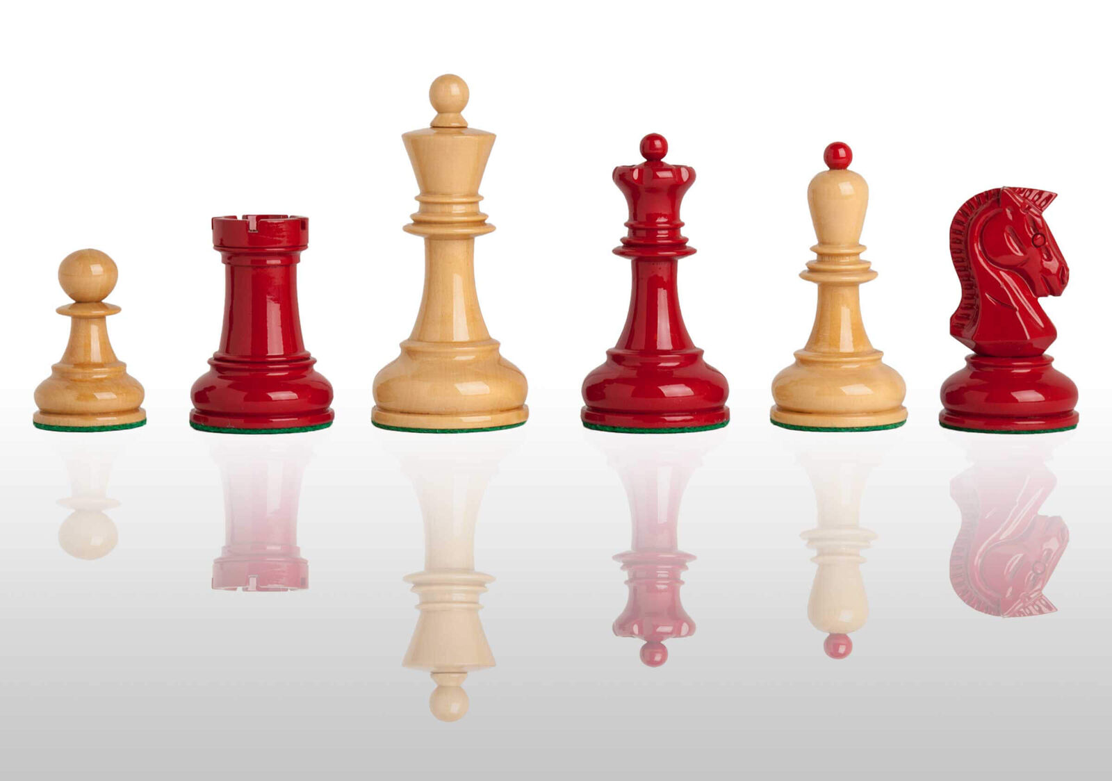 USCF Sales The Dubrovnik Chess Set - Pieces Only - 3.75  King - rosso and Natural