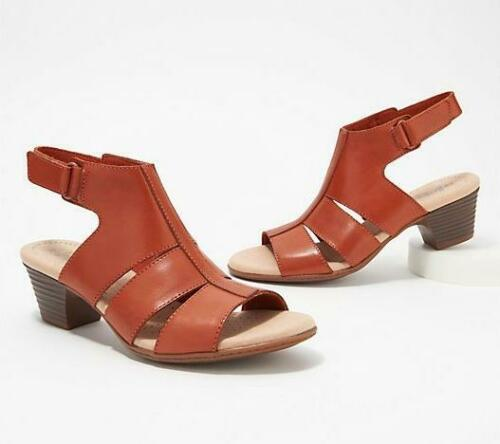 Clarks Womens Collection Leather Heeled Sandals-Valarie Dalia $76 TINI {/&}