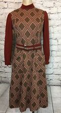Vintage 60's Designer CHESTER WEINBERG MOD Brown lined belted dress sz L