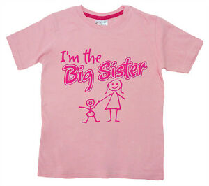 Dirty-Fingers-Child-039-s-T-Shirt-034-I-039-m-the-Big-Sister-034-Girl-039-s-Top-Family-New-Sister