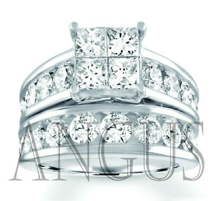 4-49-ct-Princess-cut-Diamond-Engagement-Ring-Wedding-Band-Solid-14k-White-Gold