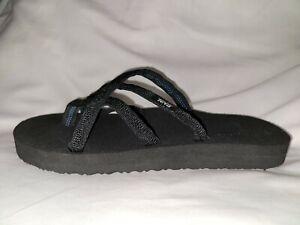 Teva Olowahu Flip Flops Sandals Thongs Women's 7 Black EVA Lightweight Foam New