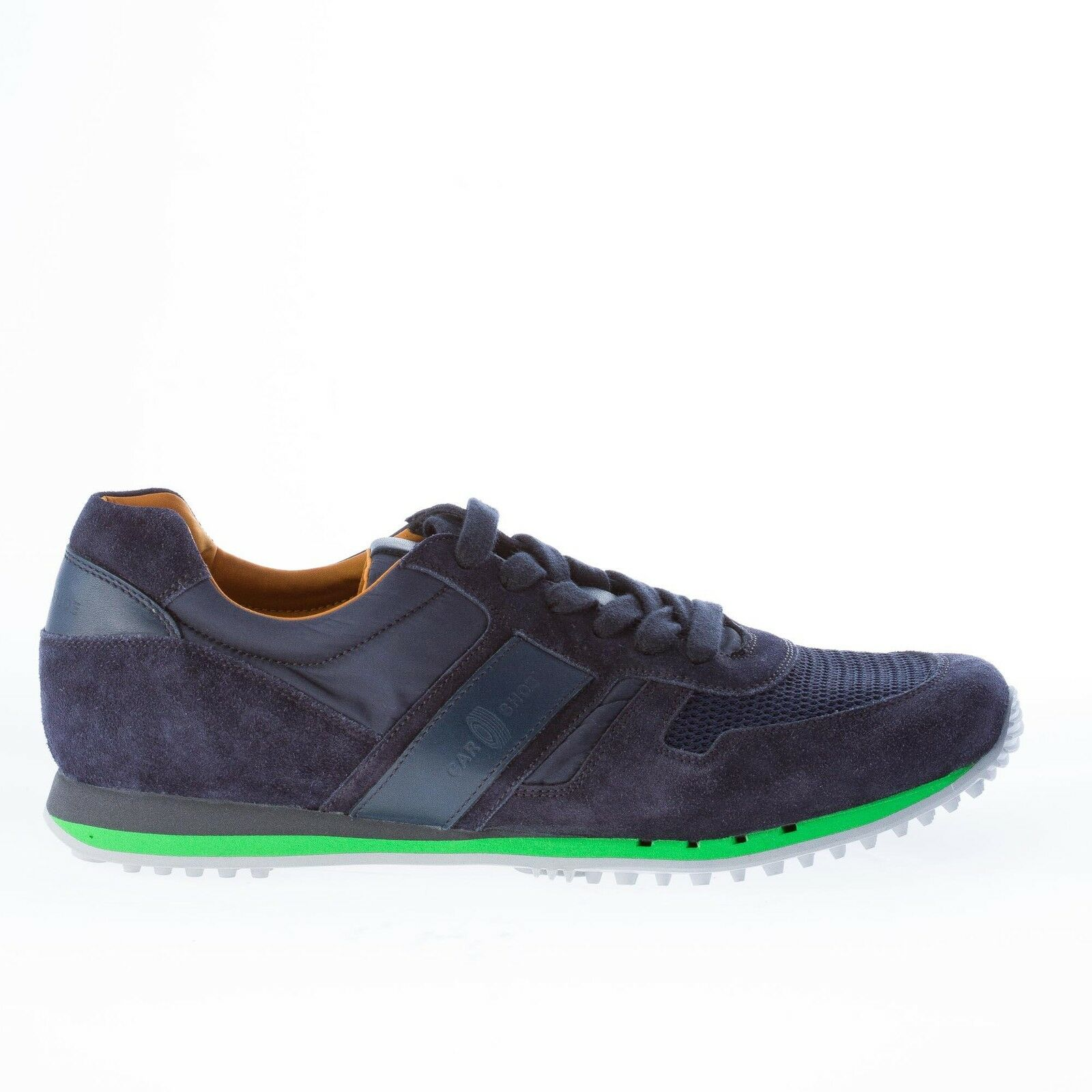 CAR SHOE men shoes bluee suede and fabric lace sneaker with logo leather patch