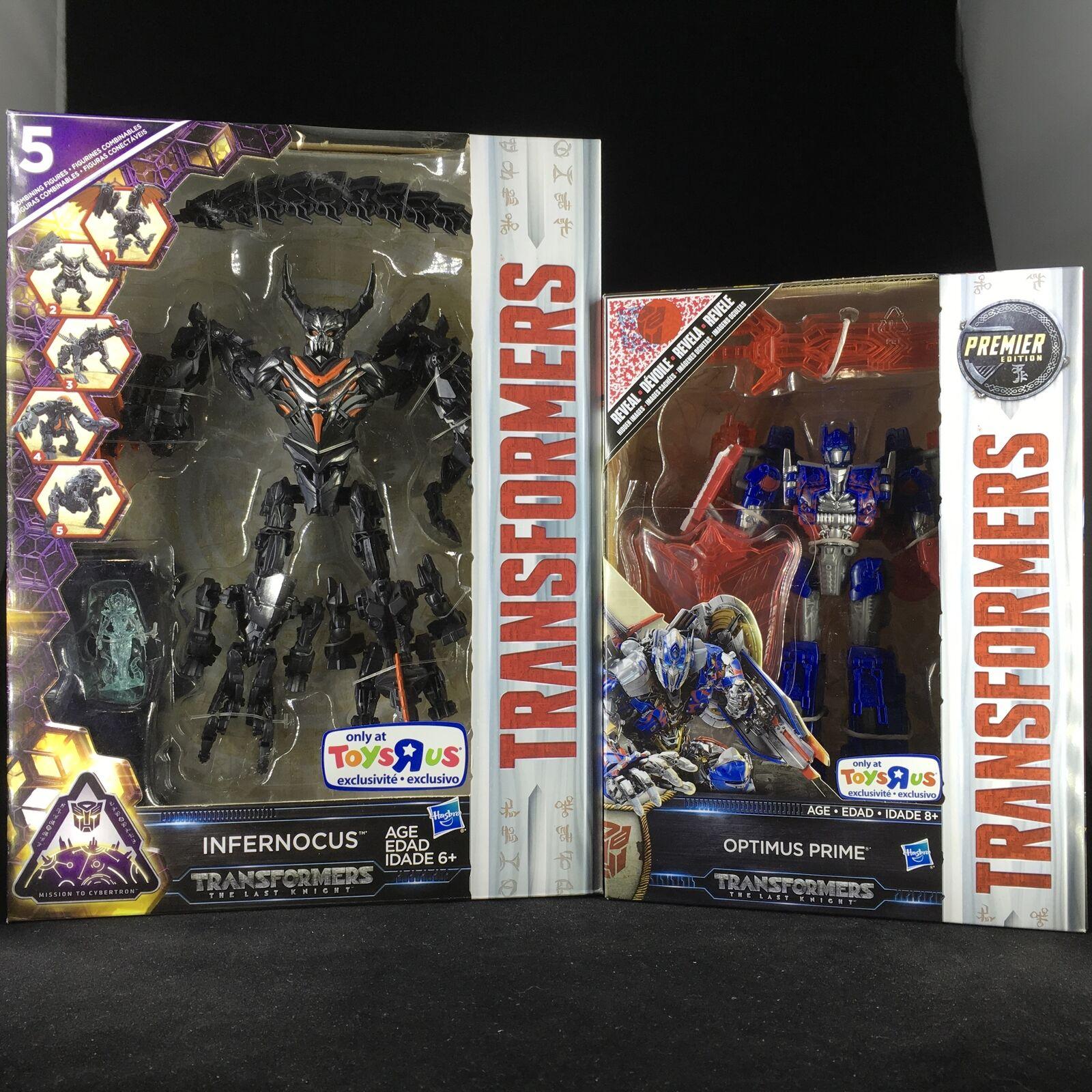 TRANSFORMERS  The Last Knight Optimus Prime Reveal & Infernocus Toys R Us Exc...