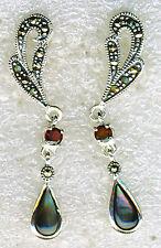 """925 Sterling Silver Abalone Garnet & Marcasite Long Drop Earrings L40mm 1.1/2"""""""