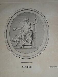 Ecole FRANCAISE XVIII Gravure SCULPTURE JUPITER CAMÉE MYTHOLOGIE HOMME NU 1780 b