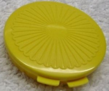 Tupperware Clamshell Pill or Change Keeper Container Gold Hinged New