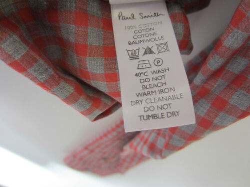 """Paul Smith Check Shirt MOTHER of PEARL Buttoning Size M Pit to Pit 22/"""""""