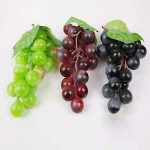 Artificial bunch lifelike grapes vine plastic fake fruit for Artificial grape vines decoration