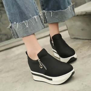 7c80df661e3a UK Women s Platform Hidden Wedge High Heels Ankle Sneakers Creeper ...
