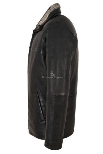 Men/'s Real Leather Jacket Black Napa Fur Collar Classic Hip Length Coat Jingo