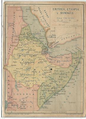Cartina Eritrea.Colonie 177 Eritrea Etiopia E Somalia Cartina Fg Non Vg Ebay