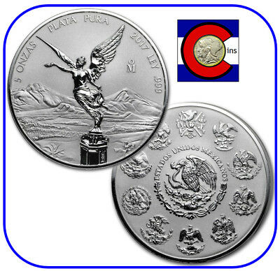 MEXICO 2018 5 OZ REVERSE PROOF SILVER COIN IN CAPSULE LIBERTAD