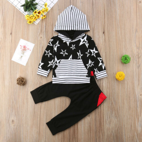 2pcs Toddler Infant Kids Baby Boy Girls Hooded Sweater+Pants Outfits Clothes Set