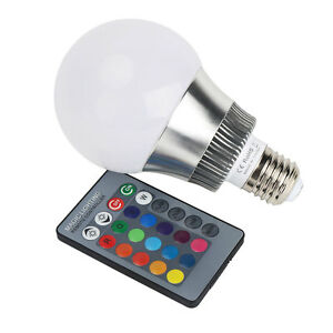 10w e27 rgb led birne farbwechsel lampe gl hbirne licht mit fernbedienung bulb. Black Bedroom Furniture Sets. Home Design Ideas
