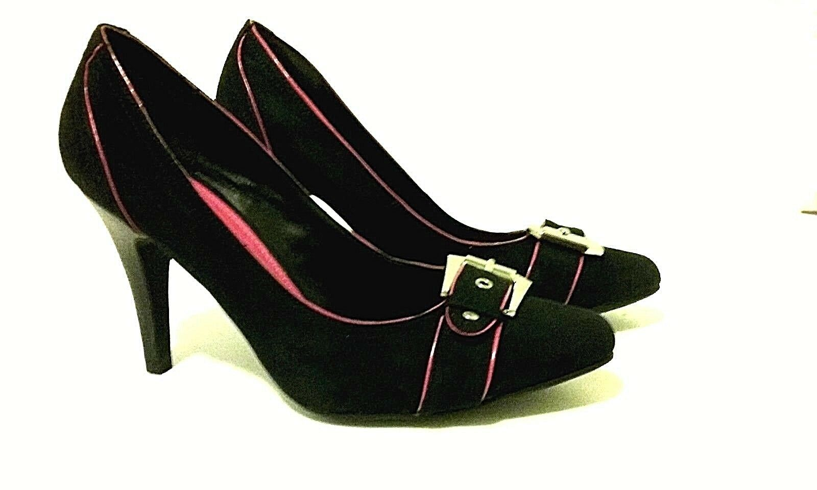 New Directions Womens shoes Sz S 7 Med Black Suede Like 41 2 Heels Hot Pink Trim