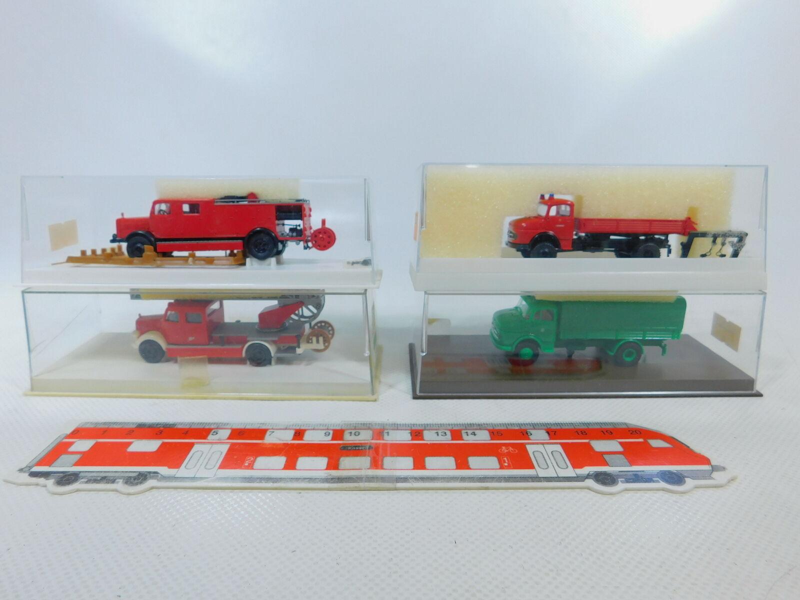 Ca168-0, 5  4x Brekina 1 87 h0 camión MB  4420 4711 4031 FW + 4713 policía, Neuw + embalaje original