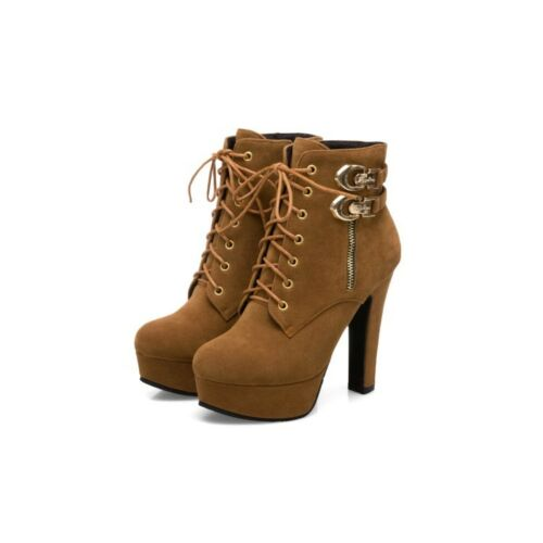 Womens Ankle Boots High Block Heel Buckle Lace Up Casual Suede Shoes Size 2.5-11